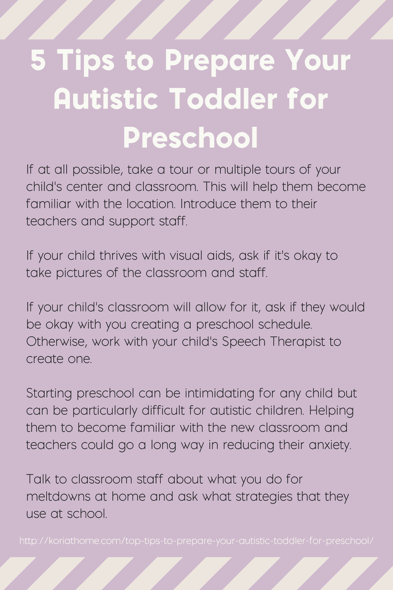 If your autistic toddler is heading to preschool soon, here are 5 tips to help them (and you) get ready. Click through to the post for more tips!