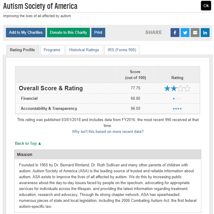 Screenshot of the charity rating for Autism Society of America