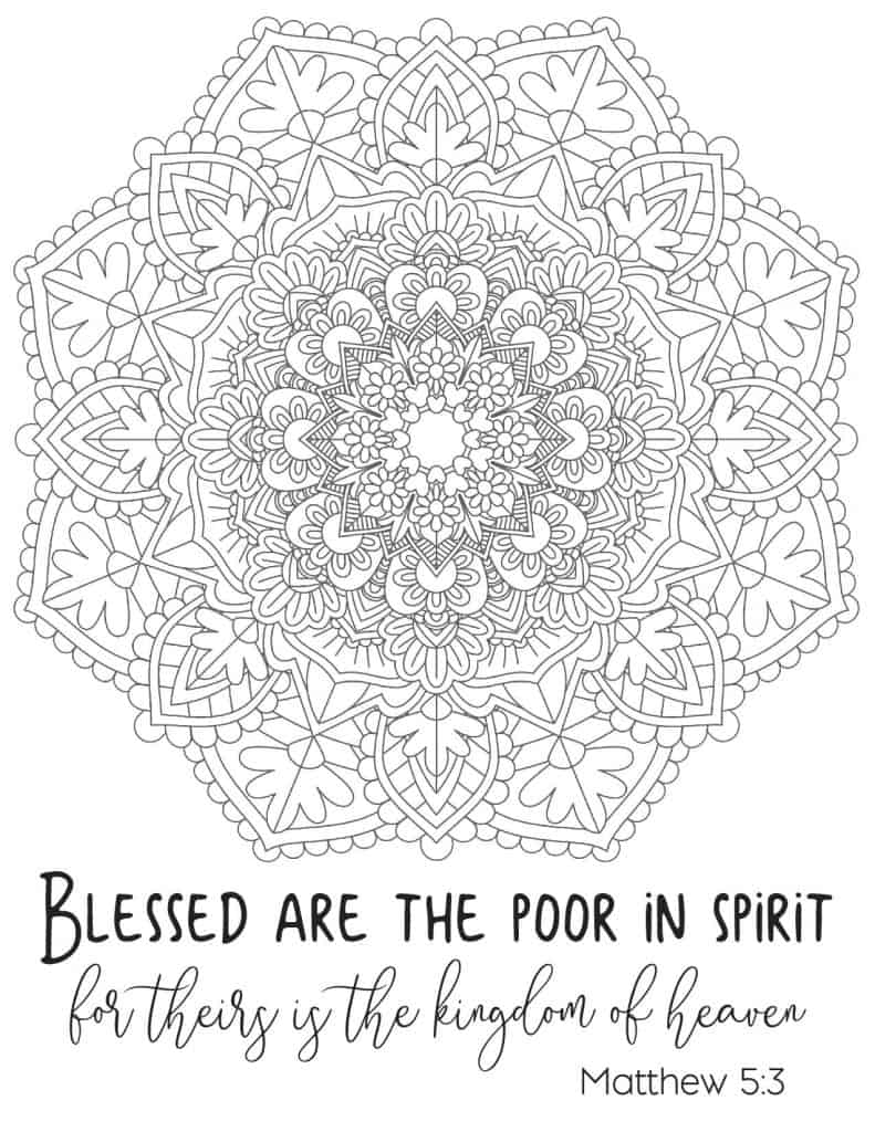 Free Printable Beatitude Coloring Page for Adults 2