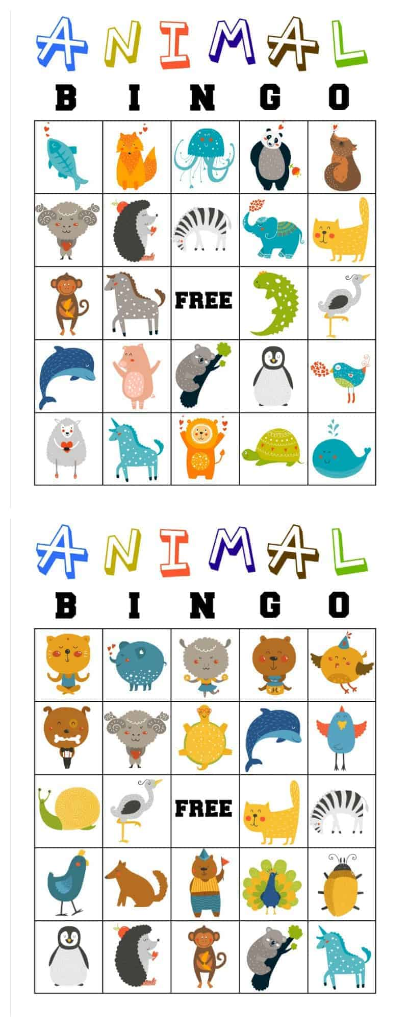 photograph about Printable Bingo for Kids called Free of charge Printable Animal Bingo Playing cards for Babies and Preschoolers