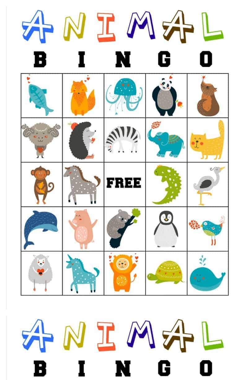 picture about Animal Printable named No cost Printable Animal Bingo Playing cards for Babies and Preschoolers