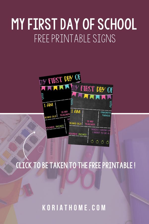 Make the first day back to school fun with these free my first day printable signs.