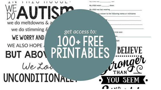 Advertisement for free printable library from Kori at Home