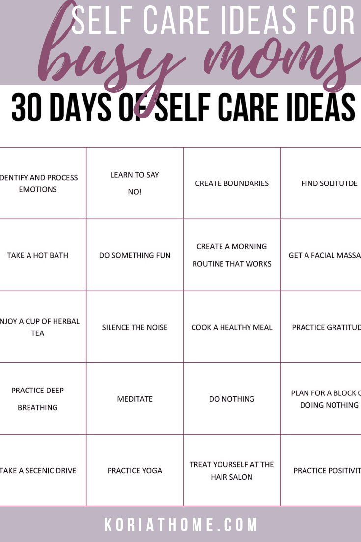 30 Days of Self Care Ideas for Busy Moms 1
