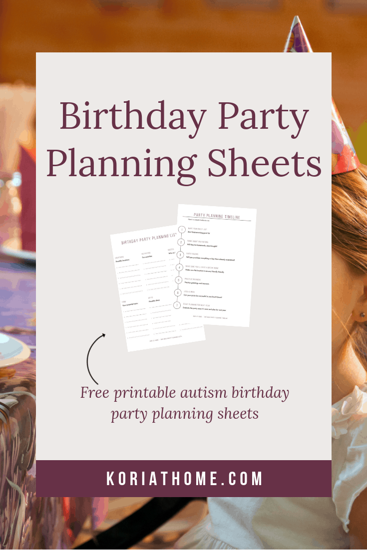 Autism Birthday Party Planning Worksheets 2