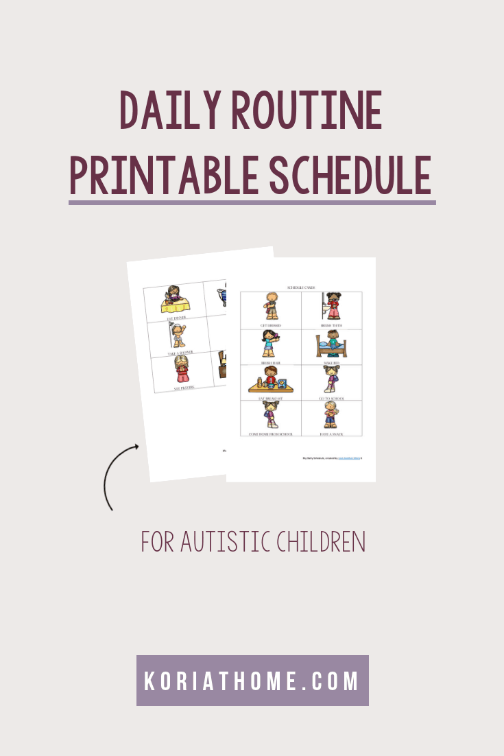 Free Printable Daily Schedule for Children on the Autism Spectrum 4