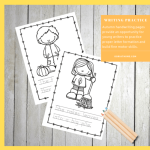 Fall Handwriting Practice for Preschoolers Printable Worksheets 3