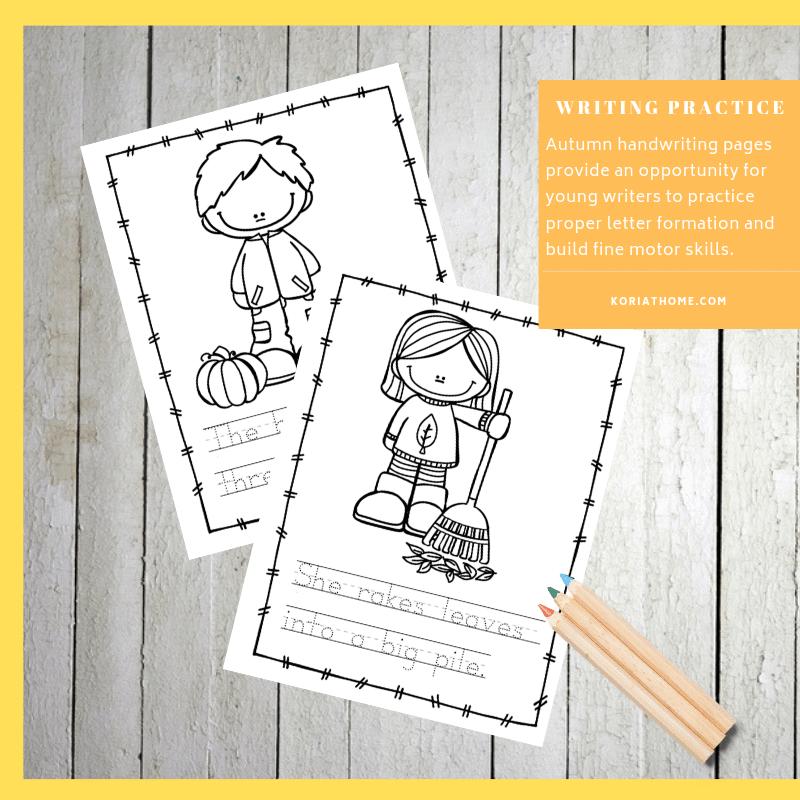 Fall Handwriting Practice for Preschoolers Printable Worksheets 2