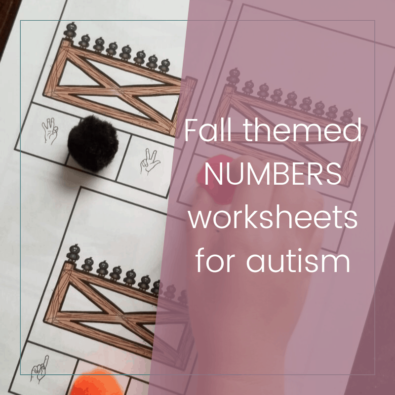 Fall Themed Numbers and Counting Worksheets for Autism 2