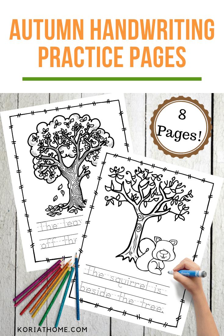 Fall Handwriting Practice for Preschoolers Printable Worksheets 1