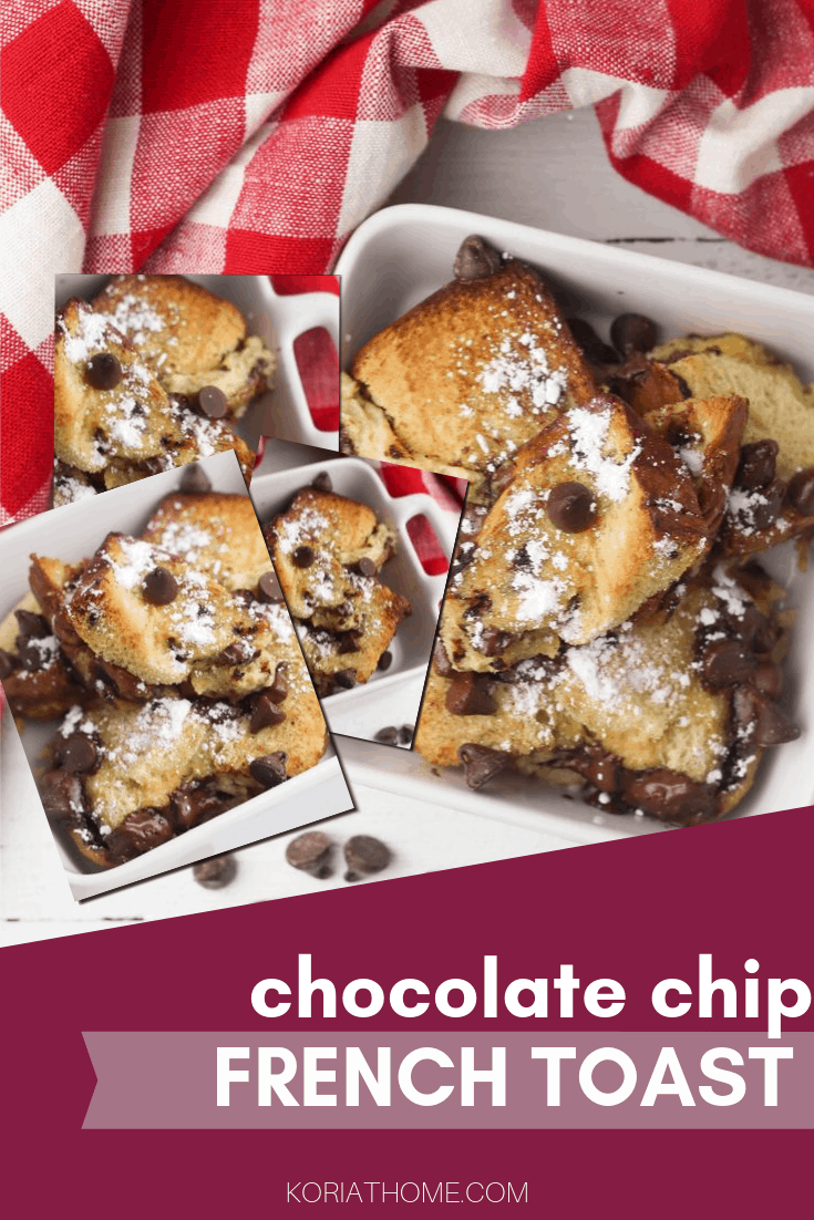 chocolate chip french toast pin image