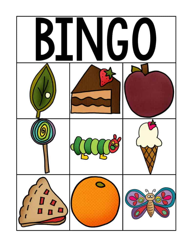 Free Printable Very Hungry Caterpillar Inspired Bingo Cards 4