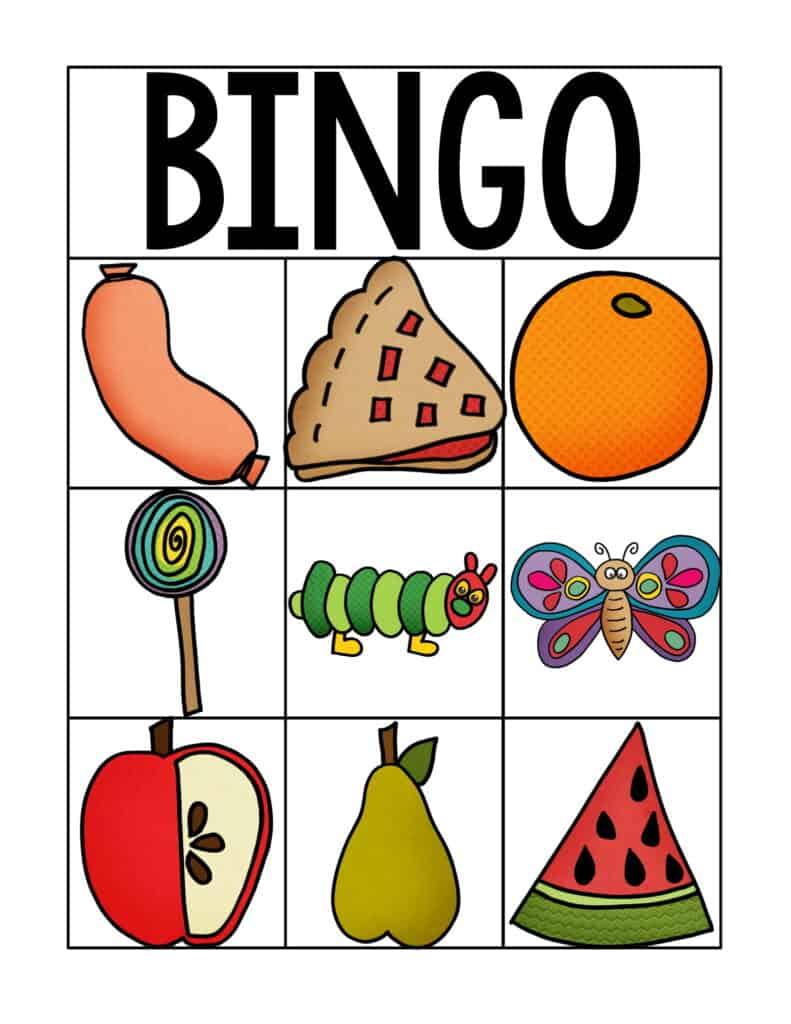 Free Printable Very Hungry Caterpillar Inspired Bingo Cards 5