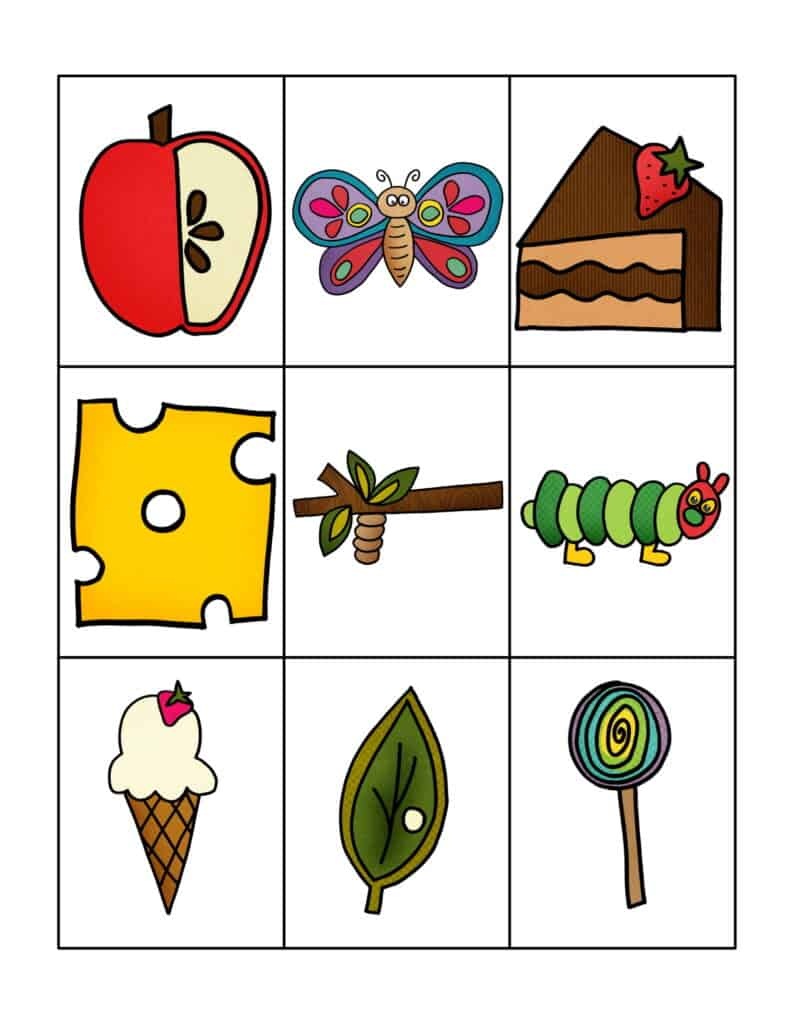 Free Printable Very Hungry Caterpillar Inspired Bingo Cards 3
