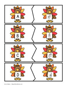 Free Printable Thanksgiving Themed Alphabet Matching Puzzles 11