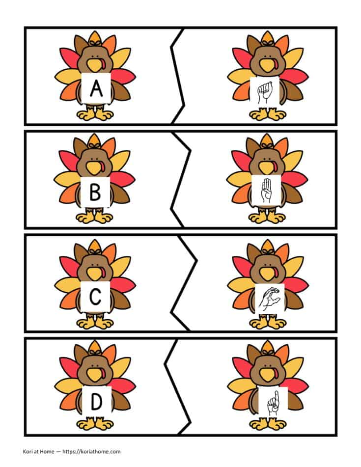 Free Printable Thanksgiving Themed Alphabet Matching Puzzles 2