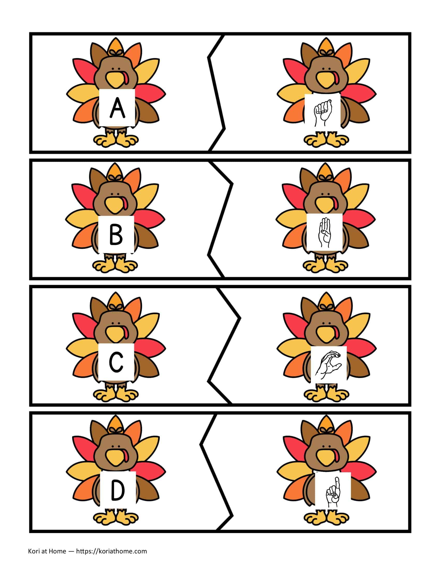 Free Printable Thanksgiving Themed Alphabet Matching Puzzles