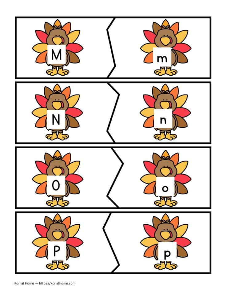 Free Printable Thanksgiving Themed Alphabet Matching Puzzles 4