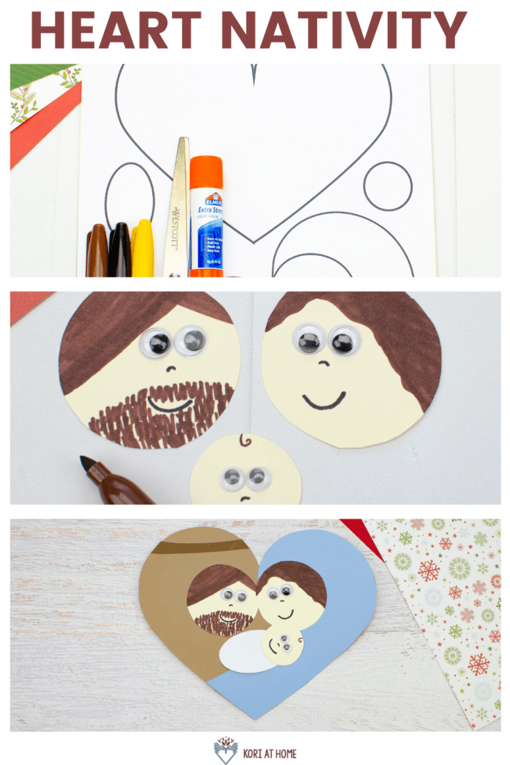 Easy Heart Shaped Nativity Craft for Kids 1