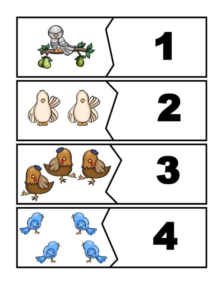 Free 12 Days of Christmas Matching Puzzles with ASL Numbers 1
