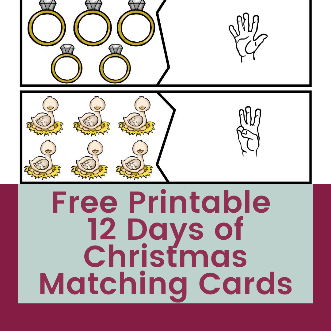 Free 12 Days of Christmas Matching Puzzles with ASL Numbers 2