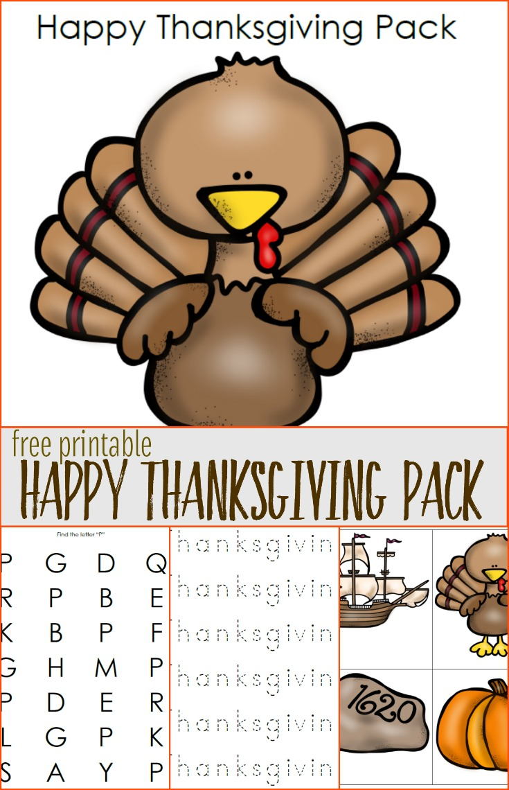 Just in time for Thanksgiving, this fun Happy Thanksgiving pack is free for download from Just Another Mom.